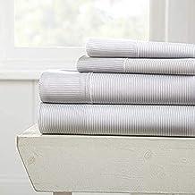 مجموعة ملاءات سرير من هوم كوليكشن iEnjoy Home Hotel Collection Premium Ultra Soft PinStriped Pattern 4 قطع، كوين، رمادي فاتح