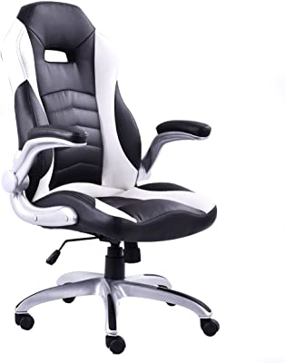 GHP 264-Lbs Capacity White & Black Leather Pneumatic Swivel Office Chair with Armrests