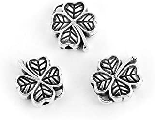 Lucky Four Leaf Clover Spacer Beads, 48 Pack Wholesale Lot, 1/2 Inch, 1.6mm Hole, Silver Tone
