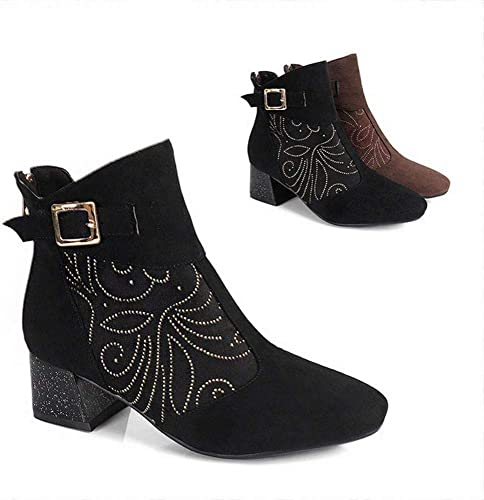WSR Stiefel para damen  Stiefel de Invierno para la Temporada Cordones Gruesos con Cabeza rotonda para damen Stiefel de Gran Tamaño para damen 34-44
