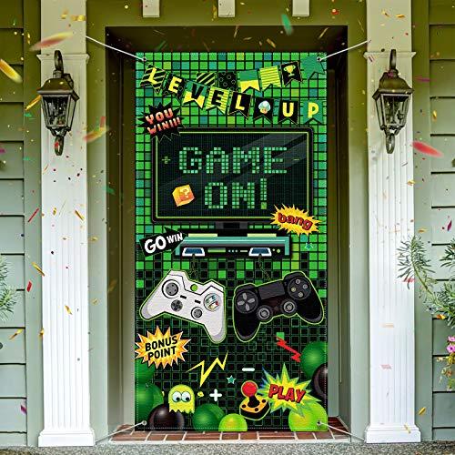 Decoración de Fiesta de Video Game Telón de Fondo de Puerta de Foto de Videojuegos Bandera de Fotos de Cumpleaños de Juego en Niños Decoración de Habitación de Jugador, 6 x 3 Feet
