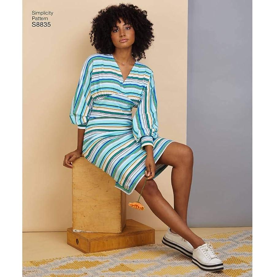 Simplicity US8835A Pattern S8835 Misses' Learn to Sew Knit Dress A (XS-S-M-L-XL)