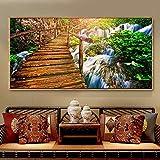 wZUN Puente de Madera de impresión HD en la montaña Pintura al óleo sobre Lienzo Arte Mural decoración de la Sala de Estar decoración del hogar 60x120 Sin Marco
