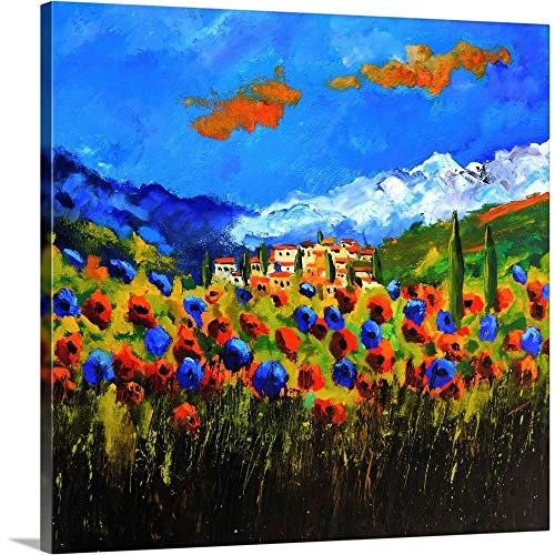 """Poppies in Tuscany Canvas Wall Art Print, 24""""x24""""x1.25"""""""