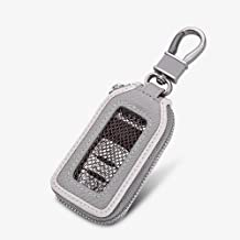 Car Keychain Cover Premium Leather Key Chain Coin Holder Keyring Hook Wallet Zipper Case Remote Smart Key Fob Alarm Security (Gray)