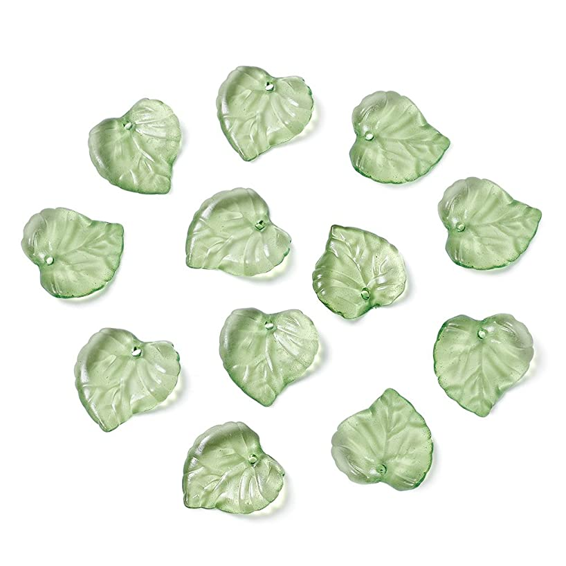 Craftdady 100Pcs Transparent Green Acrylic Leaf Pendants 15x15mm Plastic Leaf Bead Charms with 1.5mm Hole for DIY Jewelry Craft Making
