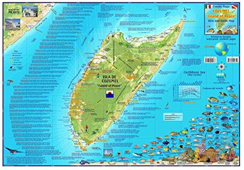 Franko Maps Cozumel Mexico Dive Snorkel & Adventure Guide Map Poster