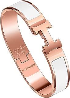 SHIRIA Best H Buckle Bangle Bracelets for Womens Stainless Steel Enamel Bracelet 12MM