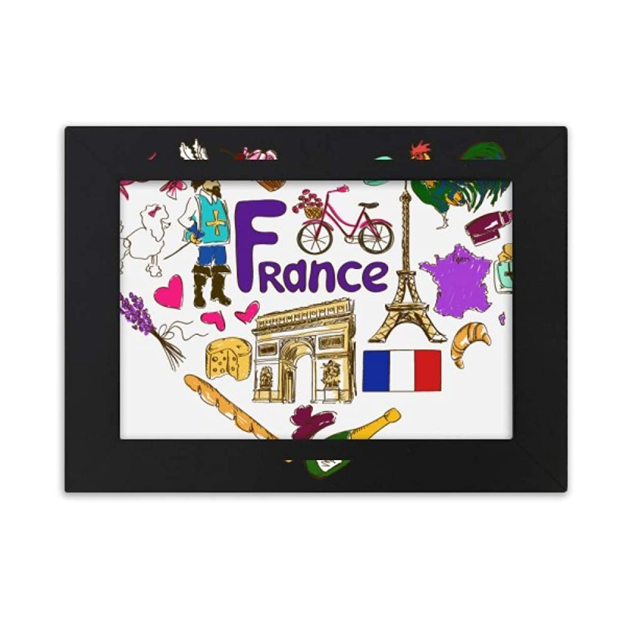 湿気の多いポットそよ風フランスの愛の心の風景の国旗 デスクトップフォトフレーム画像ブラックは、芸術絵画7 x 9インチ