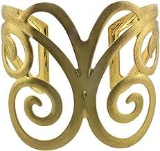 6 1//2 inches Takobia Womens Scratched Gold Flashed Swirl Cutwork Design Cuff Bracelet
