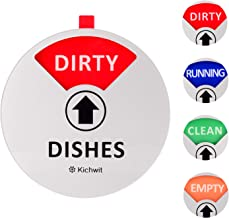 Kichwit Dishwasher Magnet Clean Dirty Sign Indicator with Running and Empty Options, Works on All Dishwashers, Non-Scratch Strong Magnetic Backing, Residue Free Adhesive Included, 4 Inch, Silver