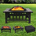 Garden 3 in 1 Fire Pit,Multifunctional Fire Bowl, Square Metal Fire Basket with Log Poker,Mesh Screen Lid,Waterproof Protective Cover for Garden Party/Outdoor Barbecue/Outdoor Heaters by seedforce