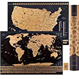 Scratch Off Travel Map World & United States National Parks 2 in 1 - Large 24x17 Quality Laminated Poster Paper - World & USA Wall Posters w/Flags, Art Coloring Pages & Scratch Tool - Traveler Gift