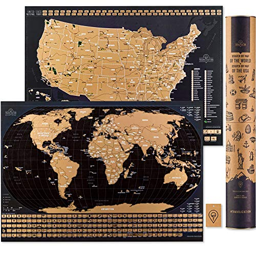 Scratch Off Travel Map World & United States National Parks 2 in 1 - Large 24x17 Quality Laminated...