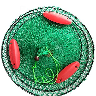 NOLOGO Whz-zyf Boat Fishing Trap Fishing Tackle Cage Portable Fish Net Cast Mesh Folded Catching Three Floating Ball,