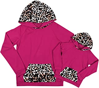 Family Matching Leopard Print Hoodies Sweatshirt Toddler Baby Mommy and Me Pullover Casual Tee Tops