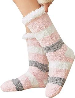 DressLksnf Medias Invierno Moda de Mujer Calcetines de Vellón de Coral Estampado de Rayas Medias Largas Original Mantiene Caliente Casual