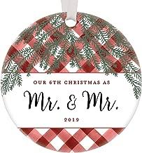 Our 6th Christmas As Mr & Mr Ornament 2019 Gay Couple Keepsake Wedding Anniversary Presents 6 Years Life Partners Husband Holiday Gift Gingham Buffalo Plaid 3