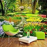 FSVGC Benutzerdefinierte Wandbild 3D Garten Park Kleine Straße Landschaft Fotografie Hintergrund Fototapete Für Wandmalerei Wohnzimmer Schlafzimmer