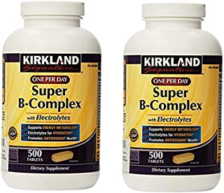 KIRKLAND SIGNATURE One Per Day Super B-Complex with Electrolytes, 500 Count, (Pack of 2)
