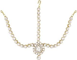 I Jewels Pearl Head Piece/Head Bands/Head Chain/Mathapatti/ Maang Tikka for Women (T1076-77)