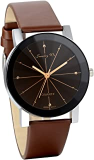 JewelryWe Men's Casual Wrist Watch Simple Rhinestone Analog Dial Quartz Watch Business Leather Watches for Males