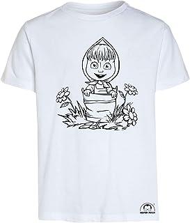 Mister Patch Idea Regalo per Bambini - Maglietta t-Shirt da colorare con Colori Inchiostro Speciale per Tessuti - Masha e ...