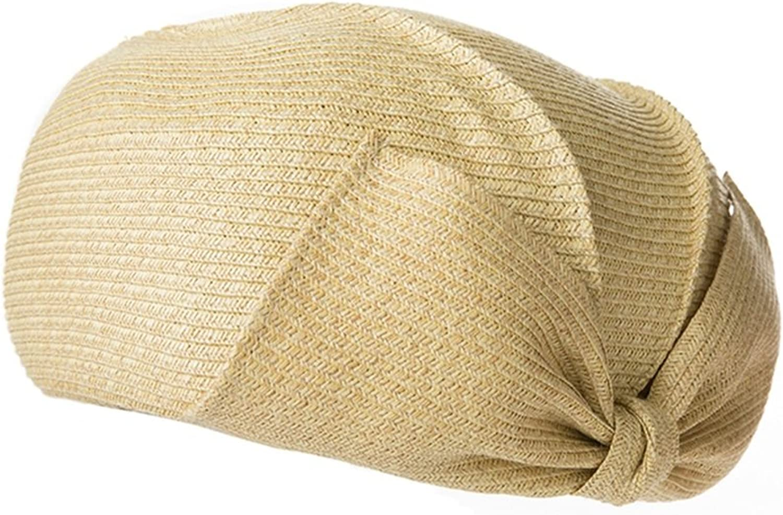 Huifang Hats QFFL xiajibaidamaozi Hat Bow Cap Female Summer Elegant Straw Hat Simple Travel Wild Beret 5 colors Optional