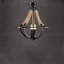 KANJJ-YU Pendant Lamps Chandelier Ceiling Industrial Retro Lamp Hemp Rope Ceiling Lamp 3 Flames Antique Ceiling Lamp Chand...