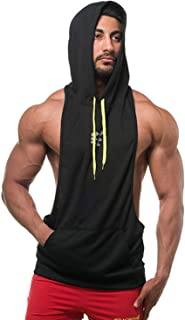 Mens Sleeveless Workout Hoodie Vest Gym Bodybuilding Lifting Tank Tops for Men