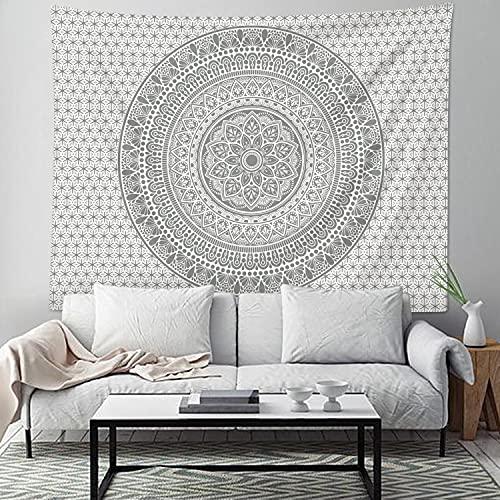 Bonhause Grauer Mandala-Wandbehang, indischer Hippie-Boho-Wandteppich für Schlafzimmer, Wohnzimmer, Wohnheim-Dekor (150 x 200 cm)