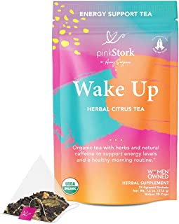 Pink Stork Wake Up Tea: Herbal Citrus, Refreshing and Energizing, Organic Black Tea with Natural Caffeine, ...