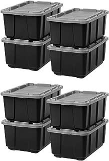 IRIS 27 Gallon Utility Tough Tote (Black with Gray/Set of 8)