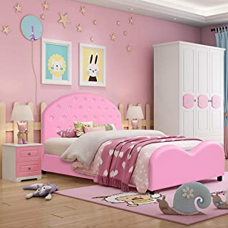 HONEY JOY Toddler Bed, Twin Size Upholstered Platform Bed Frame with Wood Slat Support, Crystal Embedded Headboard and Footboard, Children Classic Sleeping Bedroom Furniture(Pink)