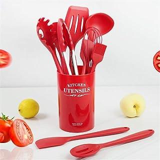 مجموعة ادوات المطبخ من 11 قطعة - دوات طبخ من السيليكون مع حامل - مجموعة اواني طبخ (بلو احمر)