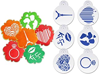 AK ART Kitchenware Sugar Cookie Stencils Set for Valentine's Day Wedding Fondant Cup Cake Decoration Mold (Lovers,Ring,Kiss) 6pcs ST-901