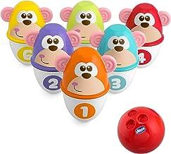 Chicco Monkey Strike Kids Bowling Set - Kegelspiel für Kinder mit 6 trennbaren Pins, stapelbar in 12 Teile, inklusive Kuns...
