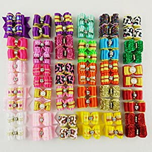 Hixixi 24pcs/12pairs Puppy Dog Hair Bows Shiny Rhinestone Grooming Bows for Holiday Party Pet Hair Accessories with Rubber Bands (Shiny)