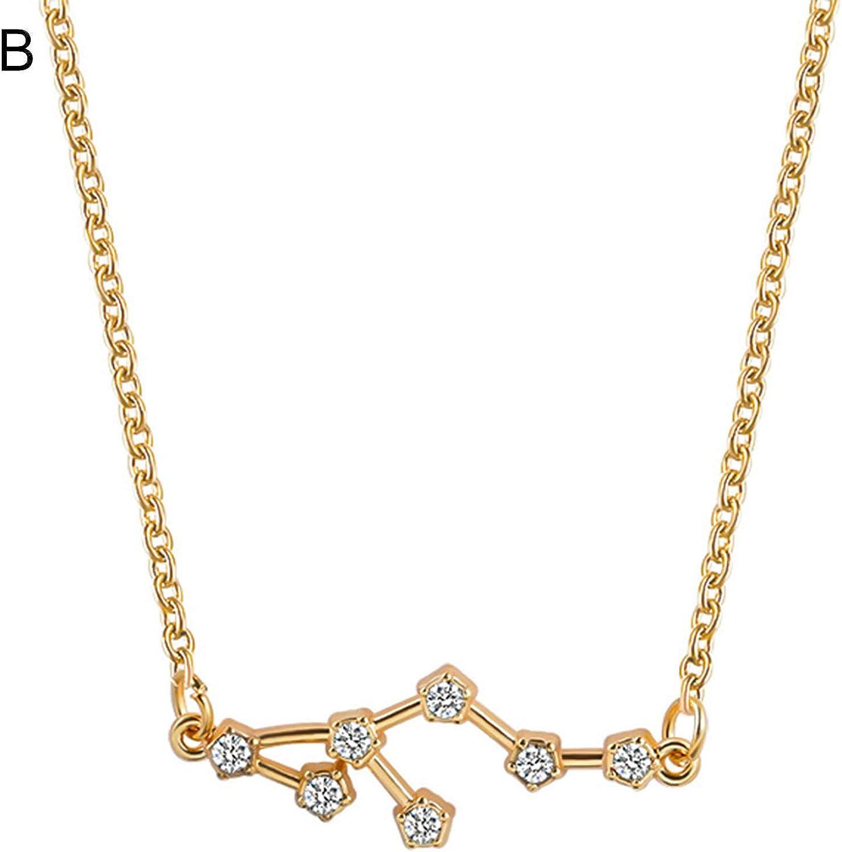 JENPECH Fashion Pendant Necklace Rhinestone Clavicle Chain Jewelry,12 Constellation Pendant Rhinestone Necklace Choker Chain Jewelry Accessory Gift - Golden J