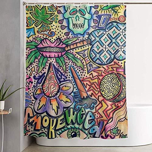 N/A voor decoratieve badkamer gordijn rook onkruid vintage kunst douchegordijn met haken waterdicht bad gordijn 72''W X 72''H