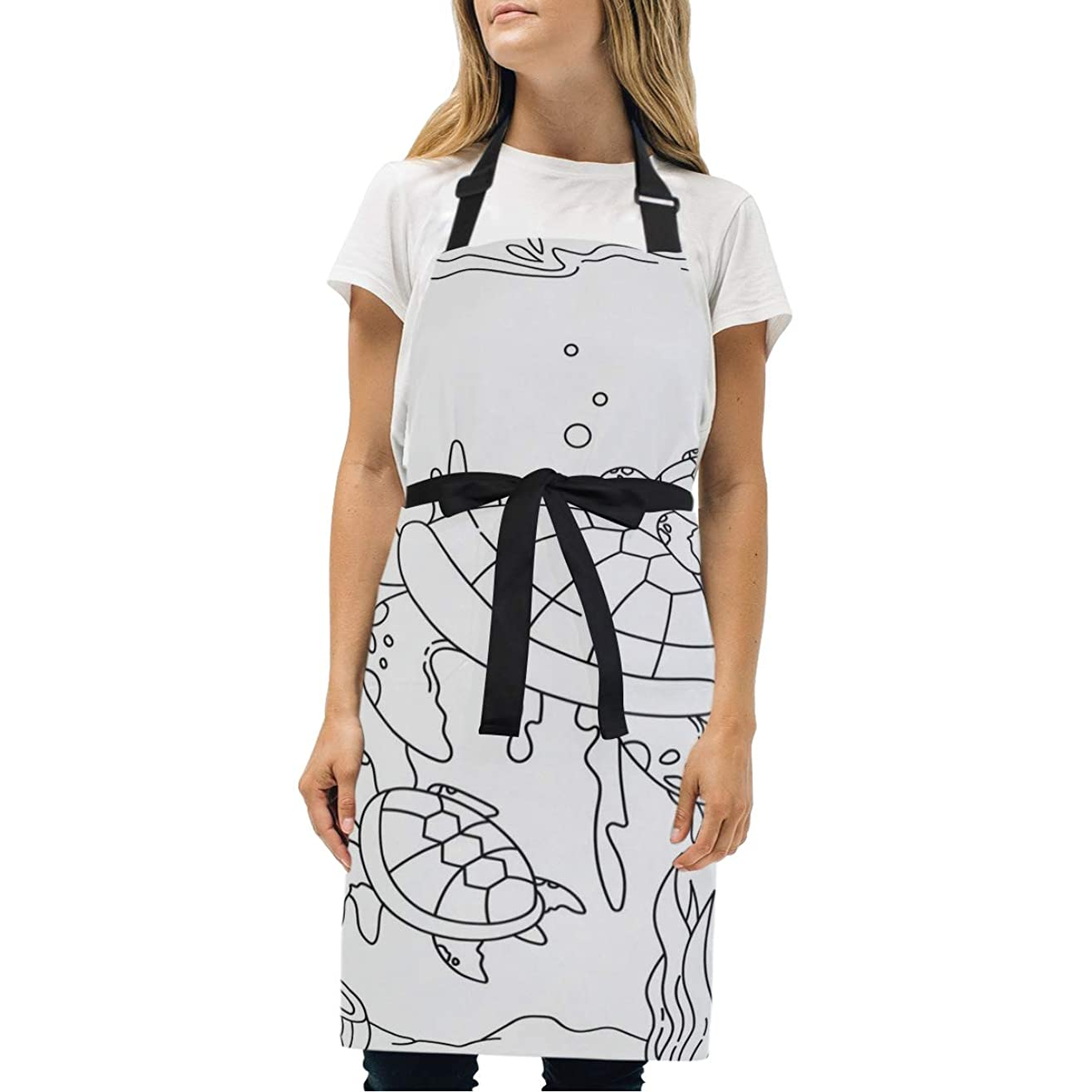 HJudge Womens Aprons Turtles Underwater Kitchen Bib Aprons with Pockets Adjustable Buckle on Neck