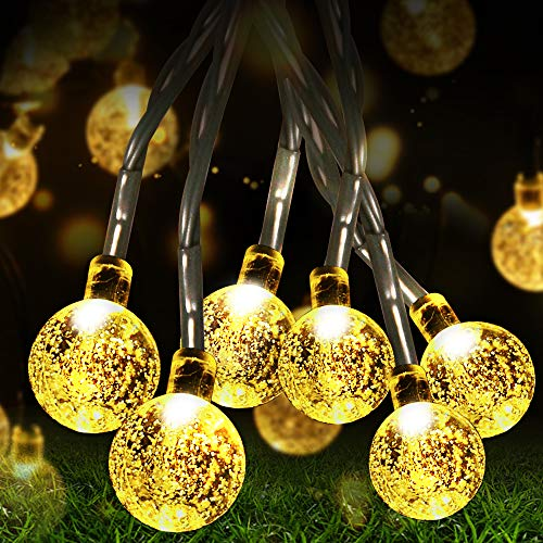Fulighture Solar Garten Lichterkette,Balkonlichter Kette Solar,9.8 Meter Kugeln Lichterketten mit 50er Warmweiß,8 Modi IP44 Wasserdicht Außerlichterkette für Garten,Bäume,Partys Deko