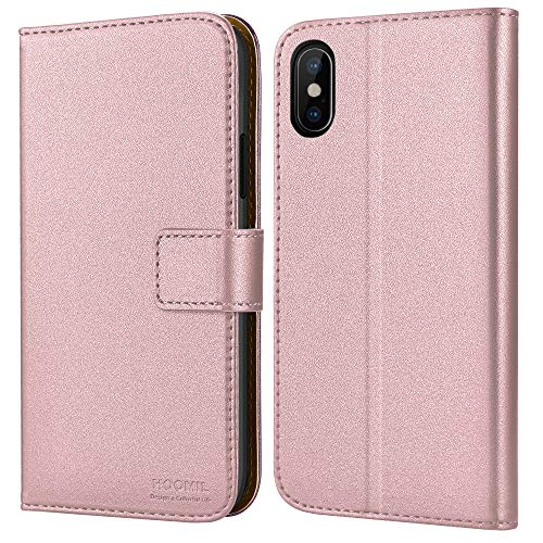 HOOMIL iPhone Xs Wallet Case,iPhone Xs Case,Premium Leather Folio Case,Book Style Wallet Cover,Ultra Slim,Shockproof,Kickstand,Card Slots,Cash Pocket,Magnetic Clasp for iPhone Xs 5.8''2018 Rose Gold