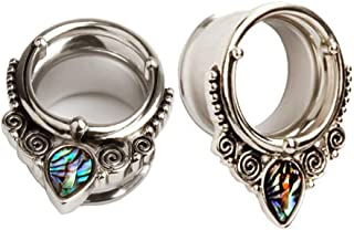 TBOSEN Stainless Steel Silver Large Ear Gauges Abalone Shell Ear Tunnels Stretching Piercings Expanders Plugs 2PCS