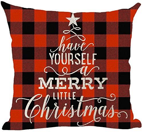 Mesllings Happy New Year Have Yourself A Merry Little Christmas Wine - Funda de almohada decorativa con diseño de cuadros rojos, para el hogar, la sala de estar, la cama, el sofá, el coche, de algodón y lino, cuadrada, 45,7 x 45,7 cm
