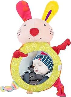 Cartoon Tier Rückspiegel Baby   Spiegel Auto Baby Verstellbarer Rücksitz Bruchsicher mit Klingel (Hase)