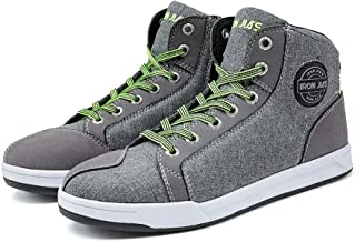IRON JIA'S Motorcycle Shoes Men Streetbike Casual Accessories Breathable Protective Gear Powersport Anti-Slip Footwear 11 Grey