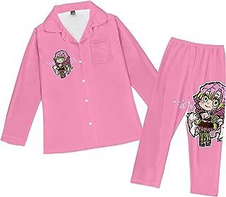 Atecou Long Sleeve Top & Bottoms Classic Sleepwear Demon Slayer Pattern Pajamas Set Nightwear Mens Soft & Cosy Pyjamas/PJ ...