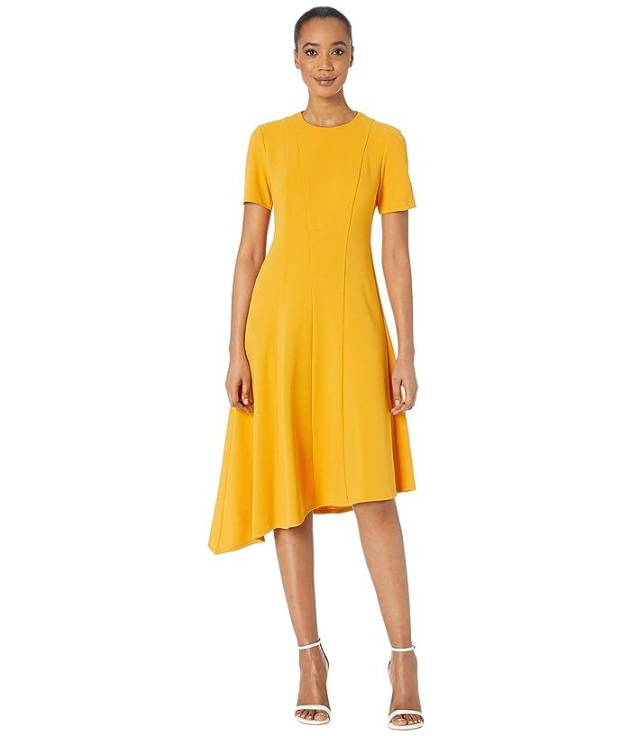 Donna Morgan  Short Sleeve Asymmetric Hem Fit and Flare Crepe Dress (Butternut) Womens Dress