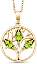 Gem Stone King 0.75 Ct Marquise Green Peridot 18K Yellow Gold Plated Silver Tree of Life Pendant With Chain